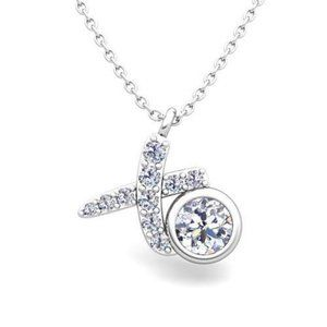 Bezel set round cut 1.90 carats diamonds pedant